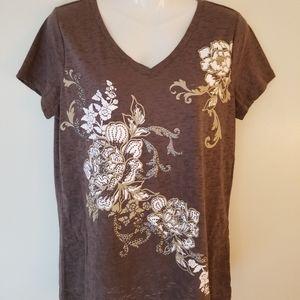 Taupe Embellished T-shirt, St John's Bay, Medium